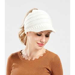 Apex Innovative Beanies Ponytail hats Messy bun hats Beanie Tail Hat Cap Soft Stretch Wool Cable Knit Messy High Bun for Women
